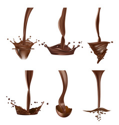 Chocolate splashes stream liquid delicious vector
