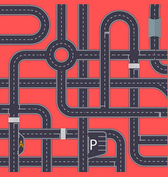 city traffic background with highway roads vector image