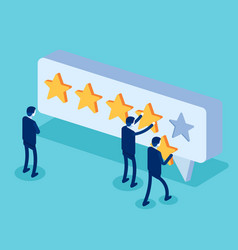 clients choosing satisfaction rating and leaving vector image