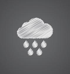 Cloud rain sketch logo doodle icon vector