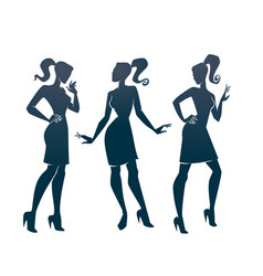 Collection fashionable girl silhouettes vector