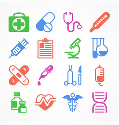color medical icons vector image