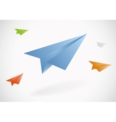 Colorful paper airplanes set vector image