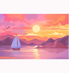 Colorful sunset scene with sailboat and birds vector