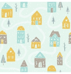 Cute winter snowfall houses pattern vector image