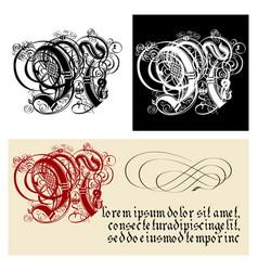 Decorative gothic letter n uncial fraktur vector