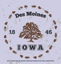 Des Moines Iowa grunge on separate layer vector