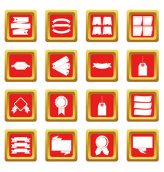 Different colorful labels icons set red vector
