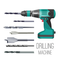 drilling machine or hand drill fitted with cutting vector image