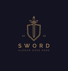 elegant sword and shield logo icon template vector image