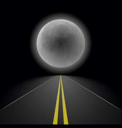 empty straight night perspective asphalt road vector image