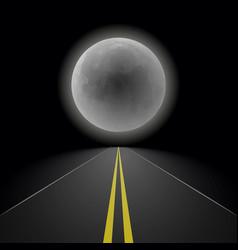 Empty straight night perspective asphalt road vector
