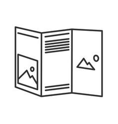Folded brochure mockup linear icon vector