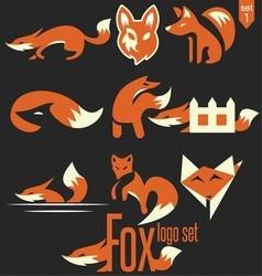 Fox logo set 1 vector