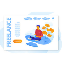 Freelance service landing page flat color template vector