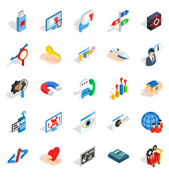 Game dev icons set isometric style vector