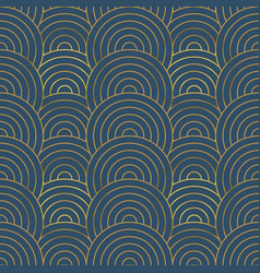 gold art deco circle line seamless pattern vector image