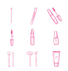 hand drawn makeup icons vector image