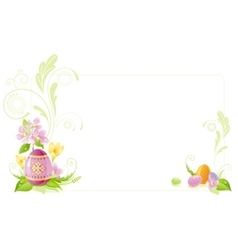 Happy Easter banner border Spring landscape - egg vector