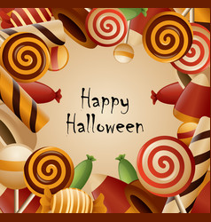 Happy halloween theme collected candy vector