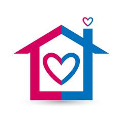Heart house logo design vector