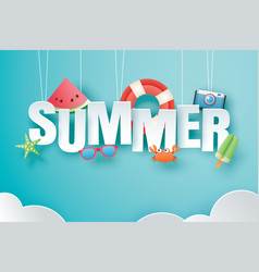 hello summer with decoration origami hanging on vector image