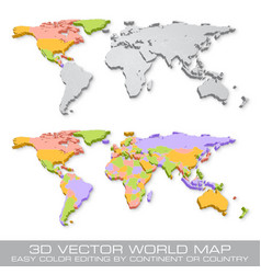 hi detail colored political world map vector image