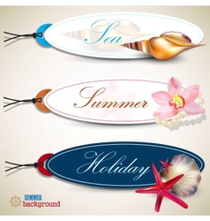 Holiday Tags with shells vector image