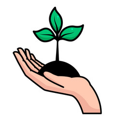 human hand with ground and growing plant with vector image