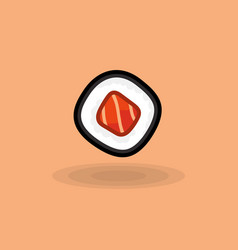 Icon japanese fresh roll with tuna isolated vector