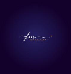 Initial letter fm logo - handwritten signature vector