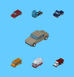 Isometric automobile set of suv autobus truck vector