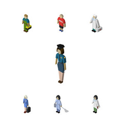 Isometric person set of guy doctor hostess and vector