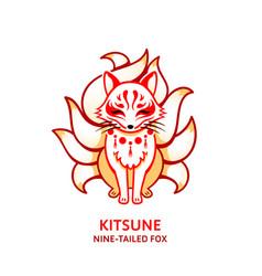 japanese fox kitsune vector image