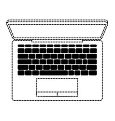 laptop computer on top view in black dotted vector image