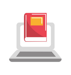 Laptop with book knowledge to study icon vector