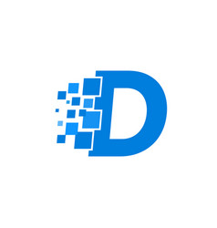 logo letter d blue blocks cubes vector image