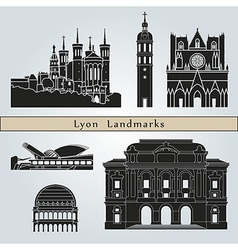 Lyon landmarks and monuments vector