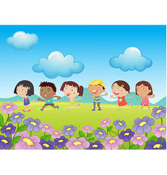 Many kids walking in the park vector image