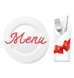 menu with platefork and knife in envelope vector image
