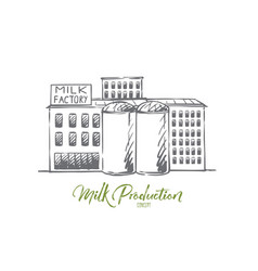 milk factory plant production industry concept vector image
