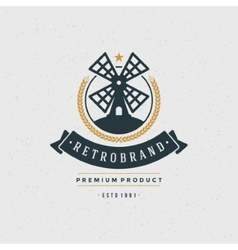 Mill Logo Design Element in Vintage Style vector image