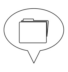 Monochrome contour of oval speech with folder icon vector