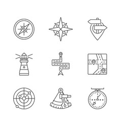 Navigation pixel perfect linear icons set vector