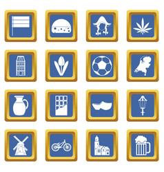 Netherlands icons set blue vector