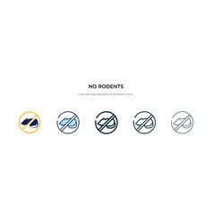 No rodents icon in different style two colored vector