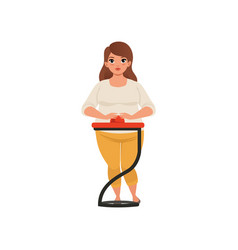 obese young woman taking part at quiz show player vector image