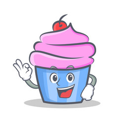 okay cupcake character cartoon style vector image