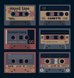 Old times audio cassettes vector