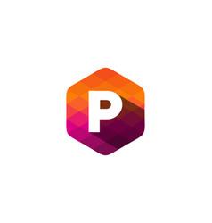 p hexagon pixel letter shadow logo icon design vector image